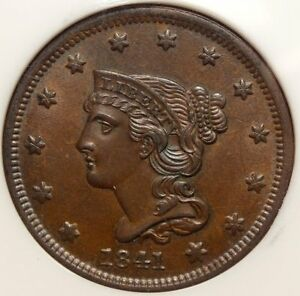 Click now to see the BUY IT NOW Price! 1841 LARGE CENT GEM UNCIRCULATED NICE PQ LUSTROUS SURFACES   0407 01