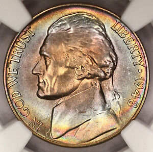 Click now to see the BUY IT NOW Price! 1948 S JEFFERSON NICKEL NGC MS67 5FS FULL STEPS MONSTER ALBUM RAINBOW TONED  G17