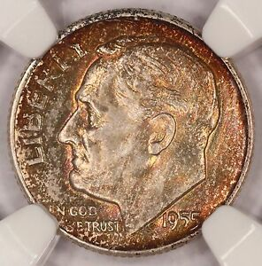 1955 D ROOSEVELT DIME NGC MS66 FIRE TONED COLORFUL TONING  3D
