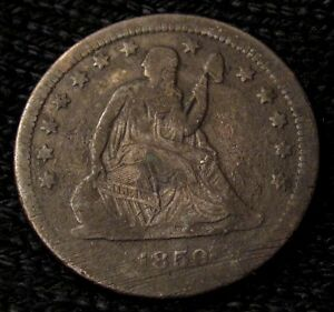 1859 SEATED LIBERTY QUARTER   VF DETAILS   13601