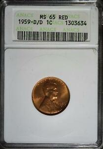 1959 D/D MS65 RD LINCOLN CENT  ERROR COPPER MEMORIAL PENNY 634 SHIPS FREE