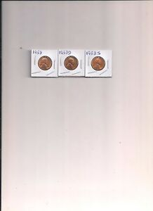 1953 LINCOLN CENTS  3  P D S  UNCIRCULATED