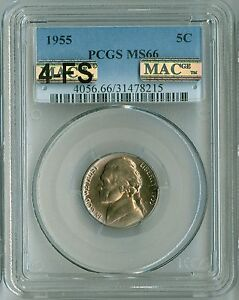 Click now to see the BUY IT NOW Price! 1955 JEFFERSON NICKEL MS66 PCGS MAC PQ 4 FULL STEPS 4FS  SPOTLESS