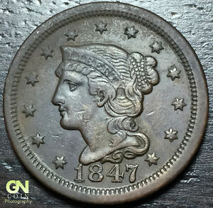 1847 BRAIDED HAIR LARGE CENT     MAKE US AN OFFER  Y6728