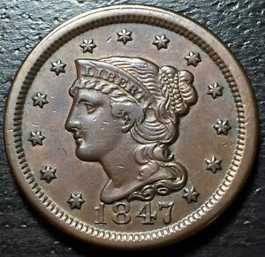 1847 BRAIDED HAIR LARGE CENT     MAKE US AN OFFER   Y4110