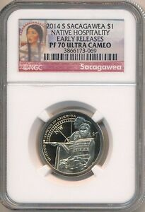 2014 S SACAGAWEA DOLLAR NGC GRADED PF70 ULTRA CAM EARLY RELEASES  LABEL