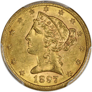 1897 S PCGS MS 62 LIBERTY HEAD HALF EAGLE $5   TYPE 2 WITH MOTTO