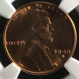 Click now to see the BUY IT NOW Price! 1949 S 1C RD LINCOLN WHEAT CENT NGC MS67 RD    4293575 047C