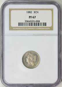 1882 PROOF 67 3 CENT NICKEL SLABBED NGC  PERFECT COIN