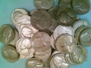 1946 P JEFFERSON NICKEL ROLL  40 COINS  CIRCULATED