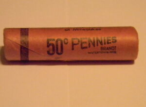 1956 D BU ORIGINAL BANK WRAPPED ROLL UNCIRCULATED LINCOLN PENNIES OLD ROLL