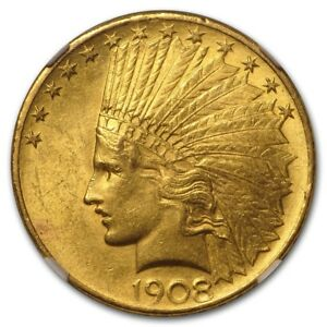 1908 $10 INDIAN GOLD EAGLE W/MOTTO MS 61 NGC