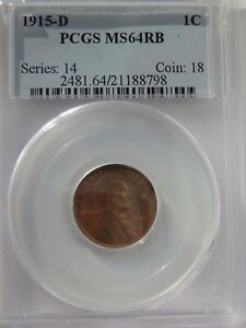 1915 D MS64RB PCGS LINCOLN WHEAT BACK PENNY.