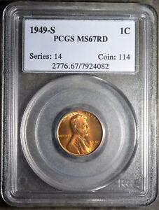 1949 S PCGS MS67 RD LINCOLN CENT SUPERB GEM WHEAT PENNY82  COPPER SHIPS FREE