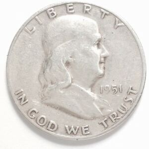 1951 S FRANKLIN 90  SILVER HALF DOLLAR   RECEIVE THIS COIN