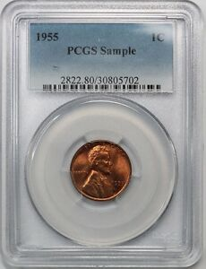1955 1C LINCOLN WHEAT CENT PCGS SAMPLE SLAB