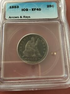 1853 25C ARROWS AND RAYS LIBERTY SEATED QUARTER ICG EF40