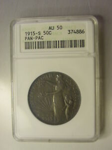 Click now to see the BUY IT NOW Price!   1915 S  PANAMA  PACIFIC  EXPOSITION  SILVER HALF  ANACS  AU 50