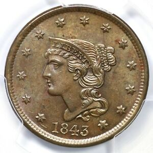 Click now to see the BUY IT NOW Price! 1843 N 3 R 3  PCGS MS 63 BN PETITE HEAD BRAIDED HAIR LARGE CENT COIN 1C