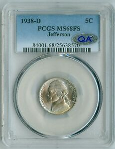 Click now to see the BUY IT NOW Price! 1938 D PCGS MS68FS  JEFFERSON NICKEL FULL STEPS 1ST YR SOLO FINEST REGISTRY
