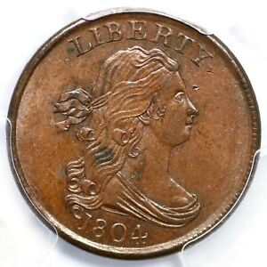 Click now to see the BUY IT NOW Price! 1804 C 4 R 5 PCGS UNC DETAILS CROSSLET 4 STEMS DRAPED BUST HALF CENT COIN 1/2C