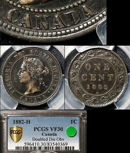 Click now to see the BUY IT NOW Price! ELITE COINS   LARGE CENT VARIETY   1882H DOUBLE DIE OBVERSE   VF30 PCGS  A040