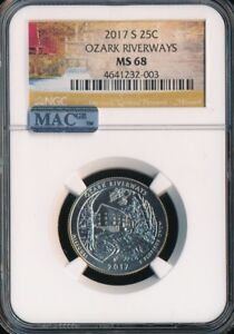 Click now to see the BUY IT NOW Price! 2017 S OZARK RIVERWAYS QUARTER NGC MAC MS68 SOLO FINEST