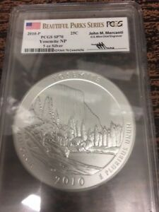 Click now to see the BUY IT NOW Price! 2010 YOSEMITE NP 5OZ SILVER MERCANTI BEAUTIFUL PARKS SERIES FLAG SP70 PCGS