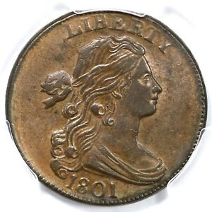 Click now to see the BUY IT NOW Price! 1801 S 224 PCGS MS 62 BN DRAPED BUST LARGE CENT COIN 1C