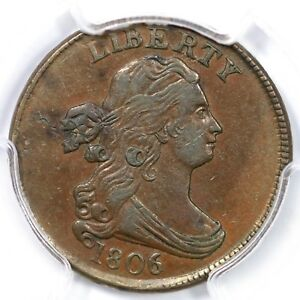 Click now to see the BUY IT NOW Price! 1806 C 2 R 4 PCGS AU 53 SMALL 6 STEMS DRAPED BUST HALF CENT COIN 1/2C