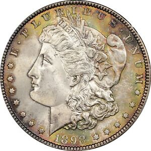 1898 MORGAN DOLLAR PCGS MS65 DUEL TONING AMAZING LUSTER  CLEAN GEM  MS 65