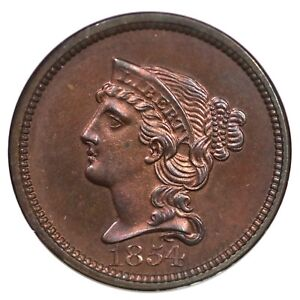 Click now to see the BUY IT NOW Price! 1854 J 160 NGC PF 64 RB JUDD PATTERN BRAIDED HAIR CENT COIN 1C