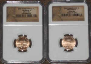 2009 P & D SET BRONZE PRESIDENCY 1C LINCOLN PENNY CENT NGC GRADE MS67 RD RED SMS