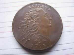 1793 WREATH LEAF CENT COINS UNITED STATES OF AMERICA OLD COINS MONEY CURRENCY