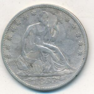 1853 SEATED LIBERTY SILVER HALF DOLLAR ARROWS RAYS CIRCULATED SHIPS FREE  INV:3