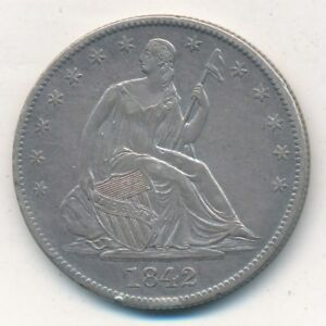 1842 O SEATED LIBERTY SILVER HALF DOLLAR AWESOME LIGHTLY CIRCULATED SHIPS FREE