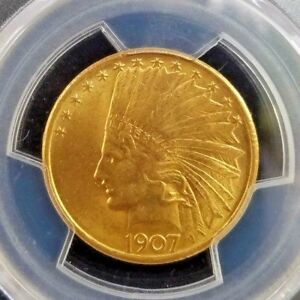STUNNING 1907 'NO MOTTO' $10 INDIAN HEAD GOLD EAGLE  GRADED: PCGS MS 63