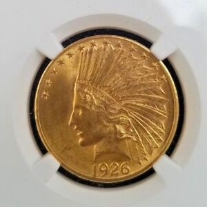 1926 $10 INDIAN HEAD GOLD EAGLE  GRADED: NGC MS 62