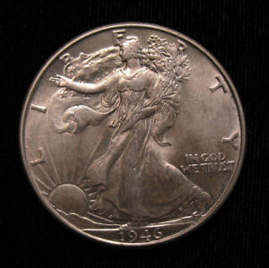 Click now to see the BUY IT NOW Price! AU  UNC 1946 DDR DOUBLE DIE REVERSE WALKING LIBERTY SILVER HALF DOLLAR FS 801