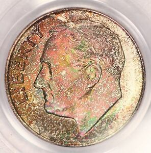 1947 S ROOSEVELT DIME PCGS MS67 VIVID CHRISTMAS TONED COLORFUL TONING  2E