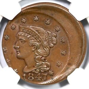 Click now to see the BUY IT NOW Price! 1847 NGC MS 65 20  OFF CENTER BRAIDED HAIR LARGE CENT COIN 1C