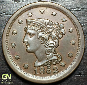 1852 BRAIDED HAIR LARGE CENT  N1  R1      MAKE US AN OFFER   O3001