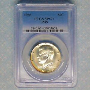 1966 SMS PCGS SP67   PLUS KENNEDY HALF DOLLAR NICE SHINY MIRRORS SP 67 SMS COIN
