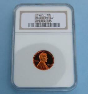 1963 NGC PROOF 69 CAMEO LINCOLN MEMORIAL CENT FROSTY GEM PF69 CAM COIN