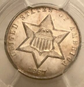 Click now to see the BUY IT NOW Price! 1867 P 3C THREE CENT SILVER PCGS MS65