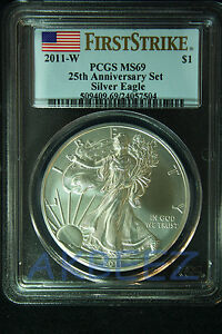 Click now to see the BUY IT NOW Price! 2011 W SILVER EAGLE PCGS MS69 FIRST STRIKE 25TH ANNIV SET FLAG 7504 SPOT FREE