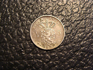 NICE SILVER 1857 NETHERLANDS EAST INDIES 1/10 GULDEN WE COMBINE ON SHIPPING