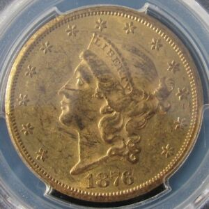 CARSON CITY GOLD  1876 CC $20 LIBERTY HEAD DOUBLE EAGLE  GRADED: PCGS AU 58
