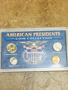 AMERICAN PRESIDENTS 4 COIN COLLECTION WASHINGTON ROOSEVELT JEFFERSON LINCOLN