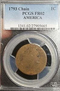1793 CHAIN CENT S 2 PCGS FR 2 NICE LOOK